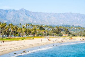 Aerial view of Leadbetter Beach, Santa Barbara, CA